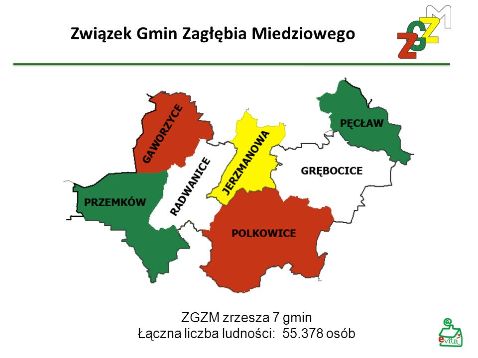 Związek Gmin Zagłębia Miedziowego ZGZM zrzesza 7 gmin Łączna liczba ludności: 55.378 osób