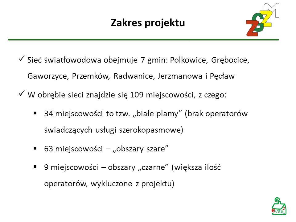 Zakres projektu Sieć światłowodowa obejmuje 7 gmin: Polkowice, Grębocice, Gaworzyce, Przemków, Radwanice, Jerzmanowa i Pęcław W obrębie sieci znajdzie