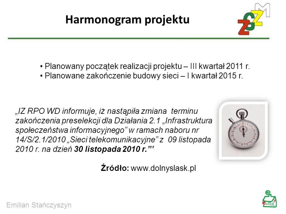 Harmonogram projektu Planowany początek realizacji projektu – III kwartał 2011 r. Planowane zakończenie budowy sieci – I kwartał 2015 r. IZ RPO WD inf