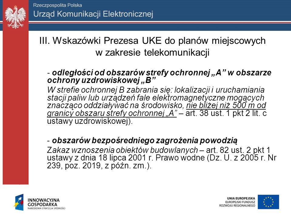 III. Wskazówki Prezesa UKE do planów miejscowych w zakresie telekomunikacji - odległości od obszarów strefy ochronnej A w obszarze ochrony uzdrowiskow