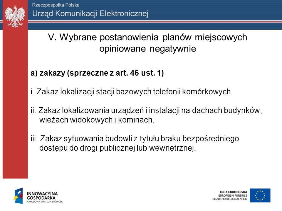 V. Wybrane postanowienia planów miejscowych opiniowane negatywnie a) zakazy (sprzeczne z art. 46 ust. 1) i. Zakaz lokalizacji stacji bazowych telefoni