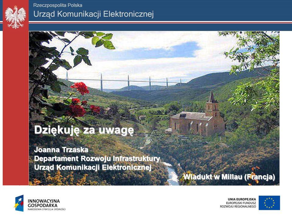 Dziękuję za uwagę Joanna Trzaska Departament Rozwoju Infrastruktury Urząd Komunikacji Elektronicznej Wiadukt w Millau (Francja) Wiadukt w Millau (Fran