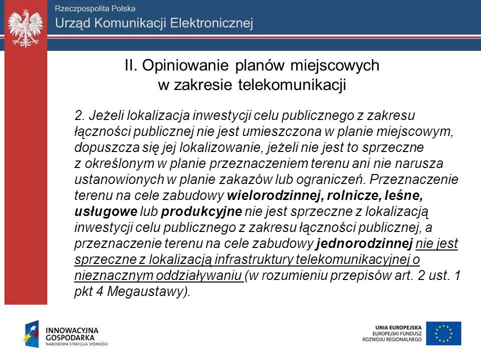 II. Opiniowanie planów miejscowych w zakresie telekomunikacji 2. Jeżeli lokalizacja inwestycji celu publicznego z zakresu łączności publicznej nie jes