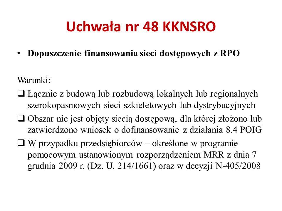 Uchwała nr 48 KKNSRO Dopuszczenie finansowania sieci dostępowych z RPO Warunki: Łącznie z budową lub rozbudową lokalnych lub regionalnych szerokopasmo