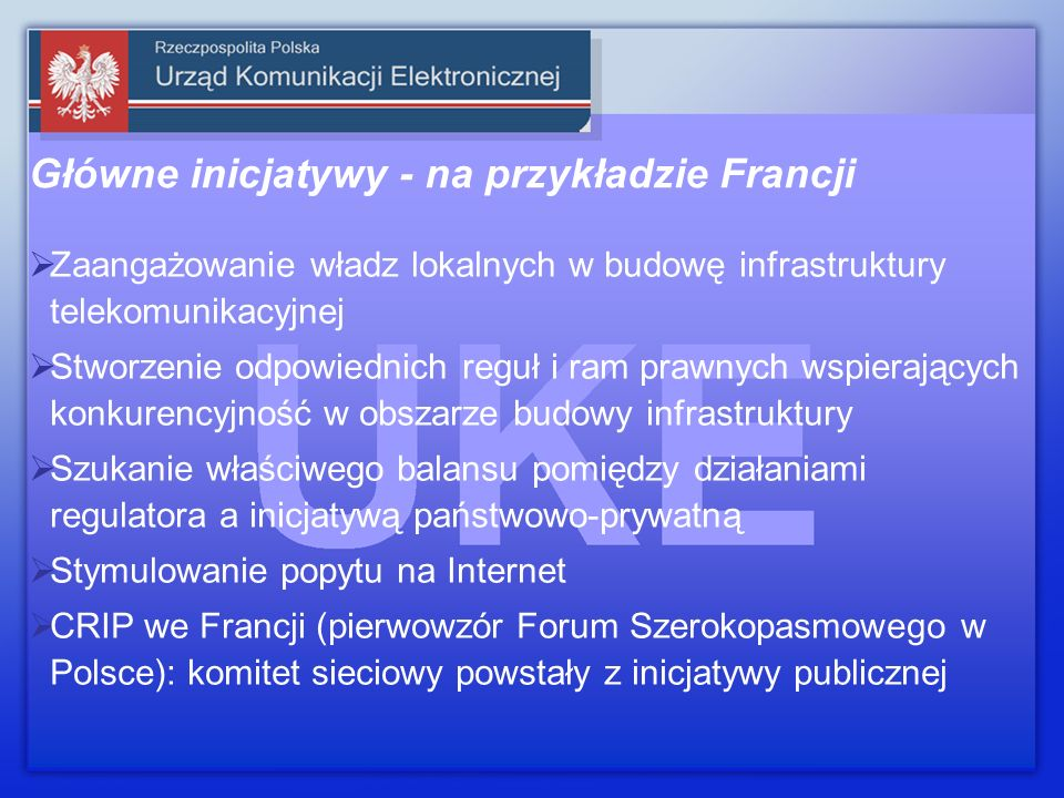 Zaangażowanie władz lokalnych w budowę infrastruktury telekomunikacyjnej Stworzenie odpowiednich reguł i ram prawnych wspierających konkurencyjność w obszarze budowy infrastruktury Szukanie właściwego balansu pomiędzy działaniami regulatora a inicjatywą państwowo-prywatną Stymulowanie popytu na Internet CRIP we Francji (pierwowzór Forum Szerokopasmowego w Polsce): komitet sieciowy powstały z inicjatywy publicznej Główne inicjatywy - na przykładzie Francji