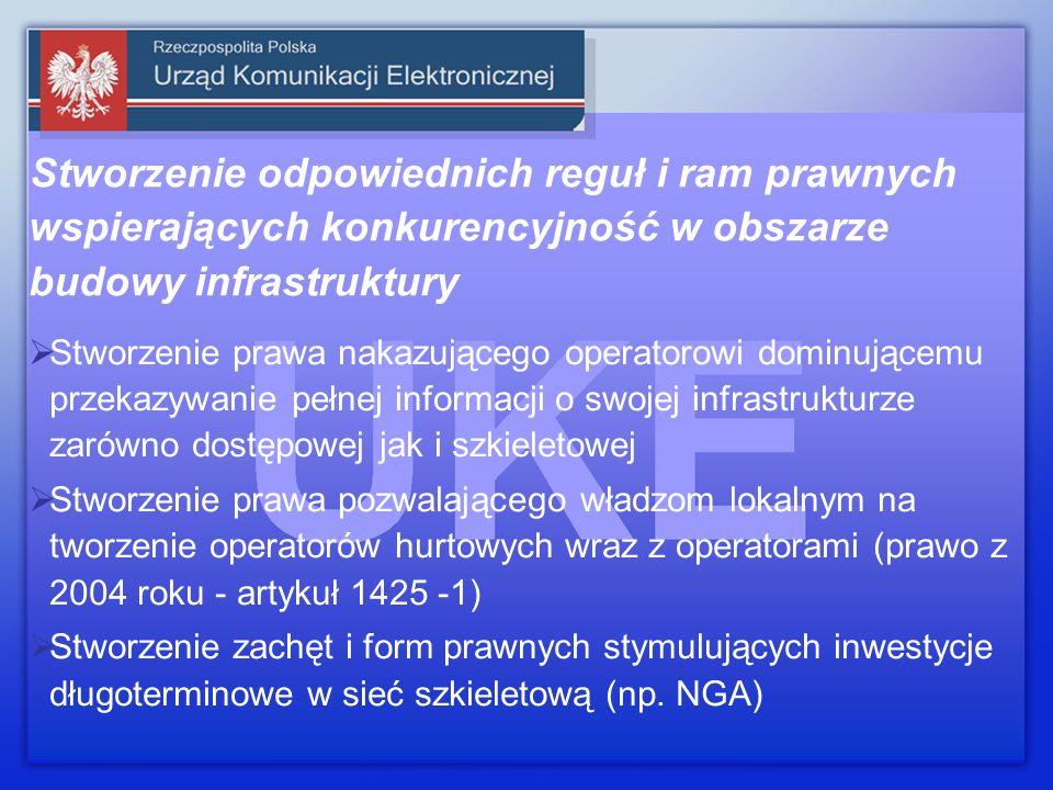 Stworzenie odpowiednich reguł i ram prawnych wspierających konkurencyjność w obszarze budowy infrastruktury Stworzenie prawa nakazującego operatorowi dominującemu przekazywanie pełnej informacji o swojej infrastrukturze zarówno dostępowej jak i szkieletowej Stworzenie prawa pozwalającego władzom lokalnym na tworzenie operatorów hurtowych wraz z operatorami (prawo z 2004 roku - artykuł 1425 -1) Stworzenie zachęt i form prawnych stymulujących inwestycje długoterminowe w sieć szkieletową (np.