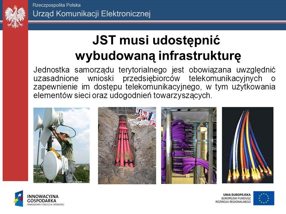 JST musi udostępnić wybudowaną infrastrukturę Jednostka samorządu terytorialnego jest obowiązana uwzględnić uzasadnione wnioski przedsiębiorców teleko