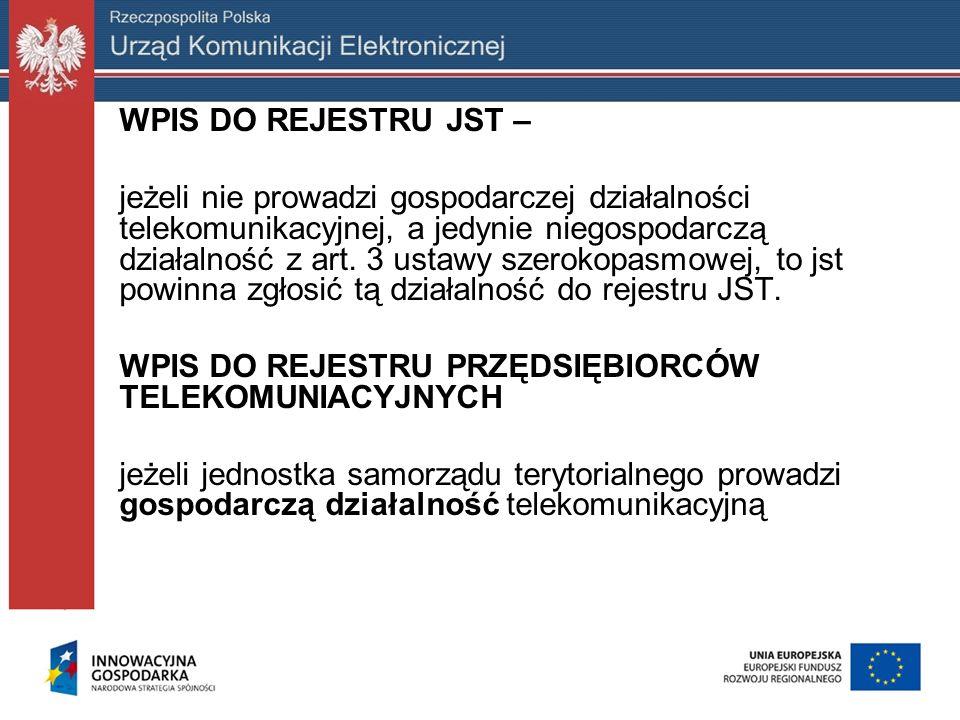 WPIS DO REJESTRU JST – jeżeli nie prowadzi gospodarczej działalności telekomunikacyjnej, a jedynie niegospodarczą działalność z art. 3 ustawy szerokop