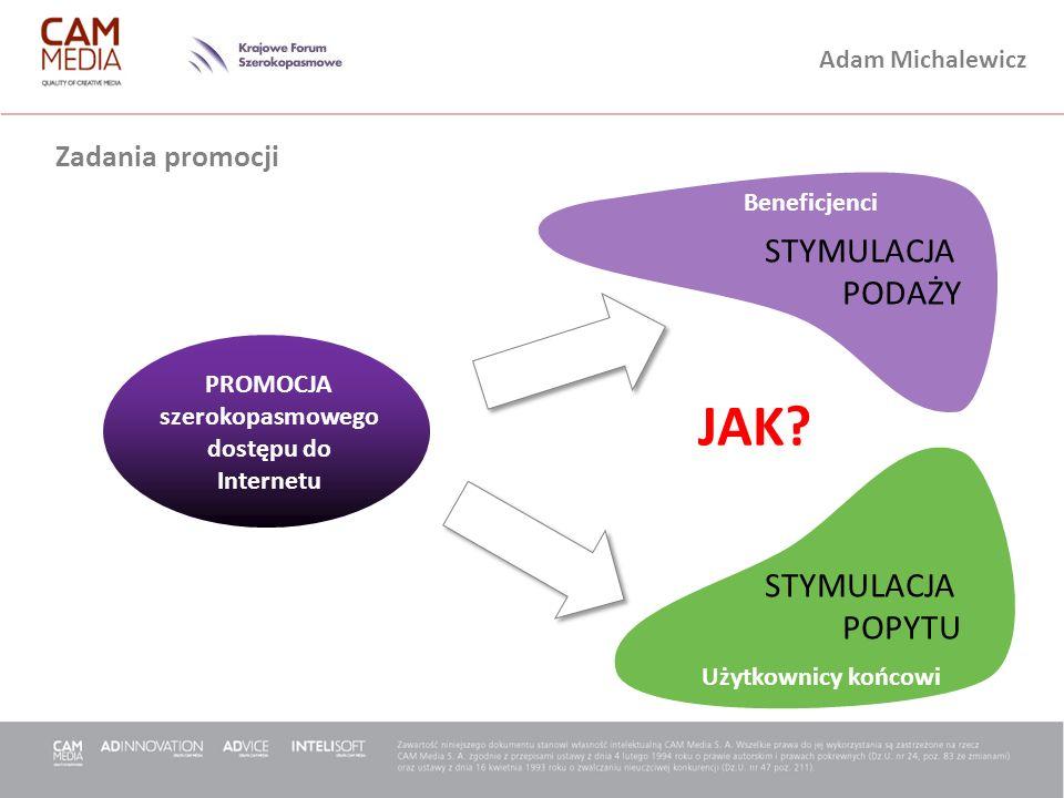 Adam Michalewicz Zadania promocji STYMULACJA PODAŻY STYMULACJA POPYTU Beneficjenci Użytkownicy końcowi PROMOCJA szerokopasmowego dostępu do Internetu