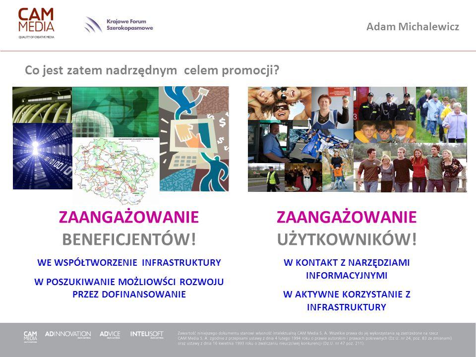 Adam Michalewicz Co jest zatem nadrzędnym celem promocji? ZAANGAŻOWANIE BENEFICJENTÓW! WE WSPÓŁTWORZENIE INFRASTRUKTURY W POSZUKIWANIE MOŻLIOWŚCI ROZW