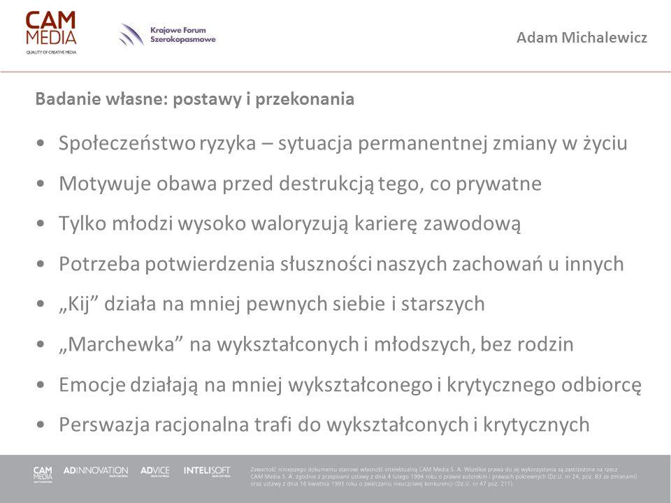 Adam Michalewicz Badanie własne: postawy i przekonania Społeczeństwo ryzyka – sytuacja permanentnej zmiany w życiu Motywuje obawa przed destrukcją teg