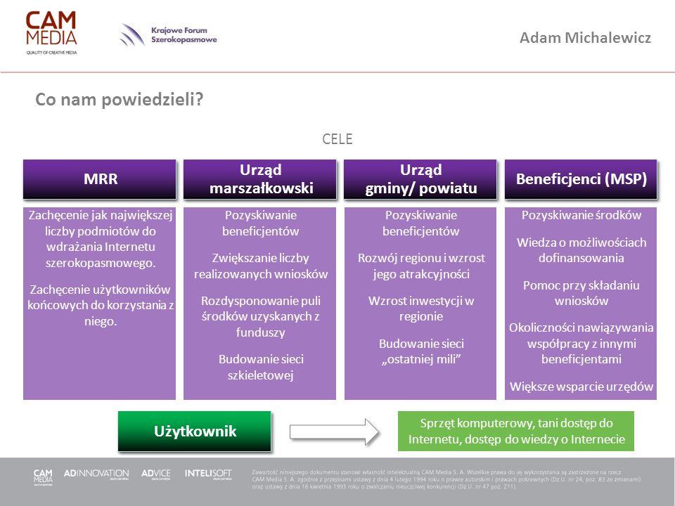 Adam Michalewicz Co nam powiedzieli? CELE Zachęcenie jak największej liczby podmiotów do wdrażania Internetu szerokopasmowego. Zachęcenie użytkowników