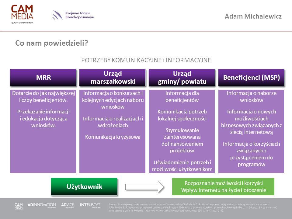 Adam Michalewicz Dwa obszary promocji PROMOCJA szerokopasmowego dostępu do Internetu Jednostki Samorządu Terytorialnego NGO non-profit MSP Grupy docelowe Działań 8.3 i 8.4 Ogół społeczeństwa Beneficjenci Użytkownicy końcowi