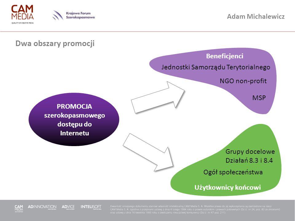 Adam Michalewicz Dwa obszary promocji PROMOCJA szerokopasmowego dostępu do Internetu Jednostki Samorządu Terytorialnego NGO non-profit MSP Grupy docel