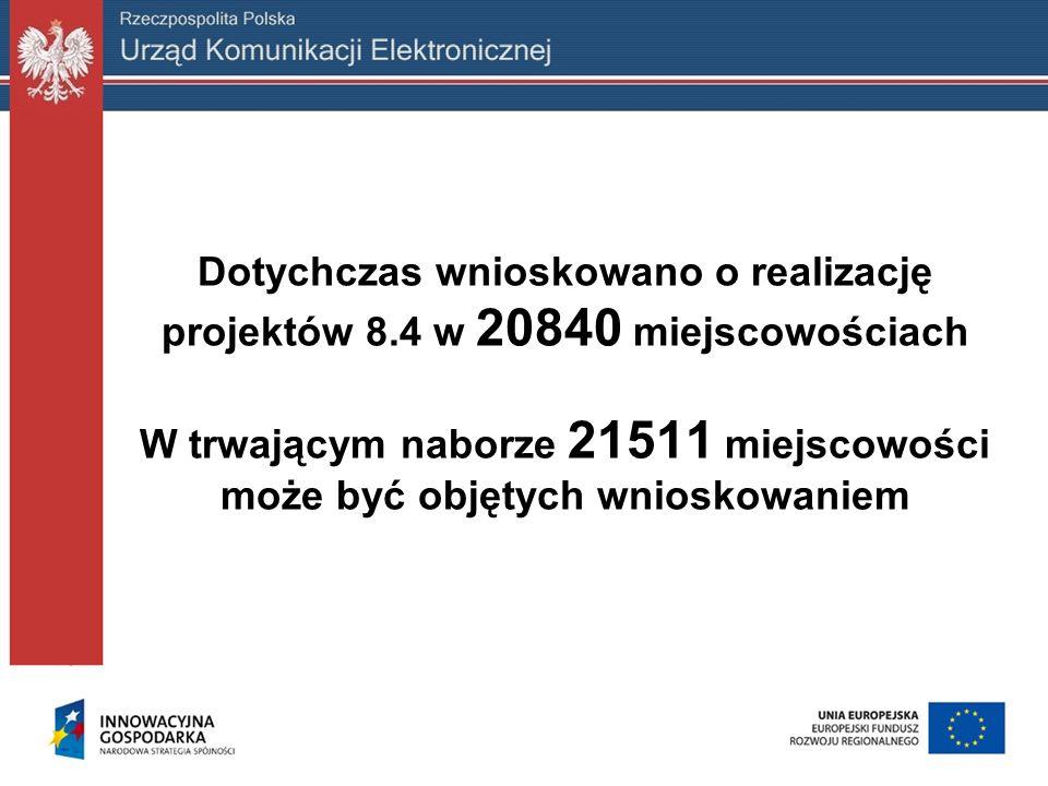 Dotychczas wnioskowano o realizację projektów 8.4 w 20840 miejscowościach W trwającym naborze 21511 miejscowości może być objętych wnioskowaniem