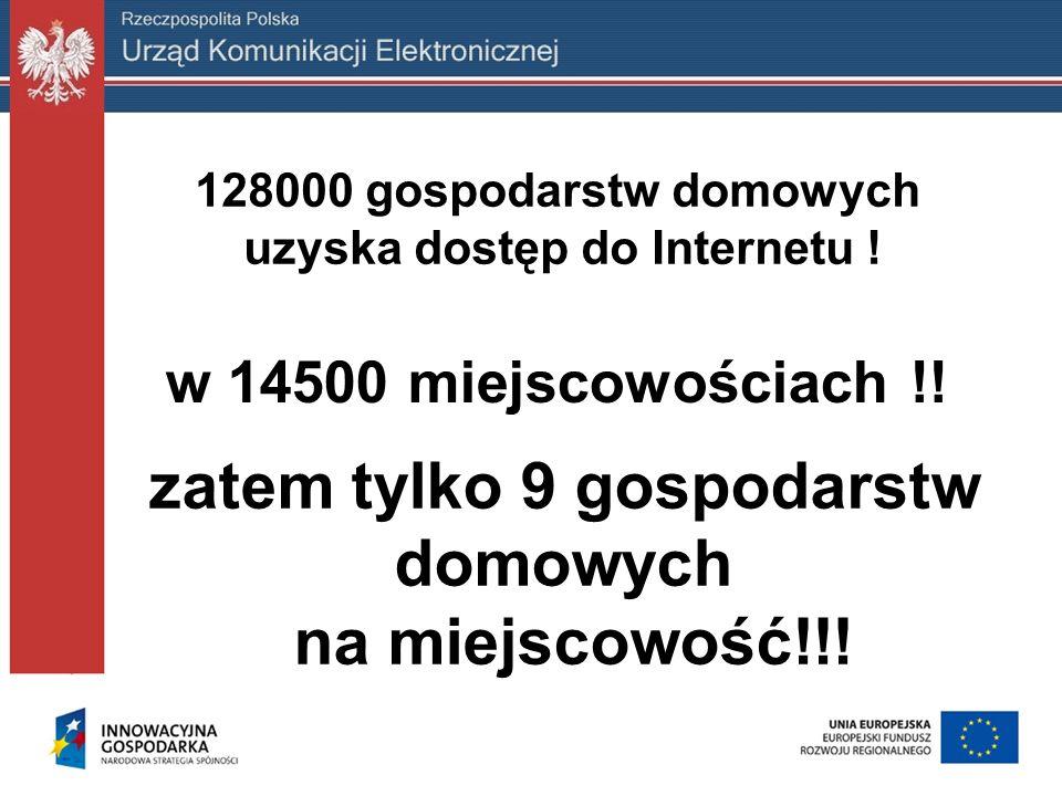 128000 gospodarstw domowych uzyska dostęp do Internetu ! w 14500 miejscowościach !! zatem tylko 9 gospodarstw domowych na miejscowość!!!