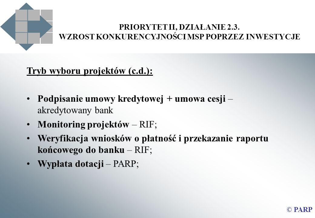 PRIORYTET II, DZIAŁANIE 2.3. WZROST KONKURENCYJNOŚCI MSP POPRZEZ INWESTYCJE © PARP Tryb wyboru projektów (c.d.): Podpisanie umowy kredytowej + umowa c