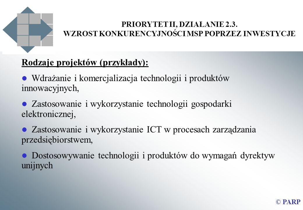 PRIORYTET II, DZIAŁANIE 2.3. WZROST KONKURENCYJNOŚCI MSP POPRZEZ INWESTYCJE © PARP Rodzaje projektów (przykłady): Wdrażanie i komercjalizacja technolo