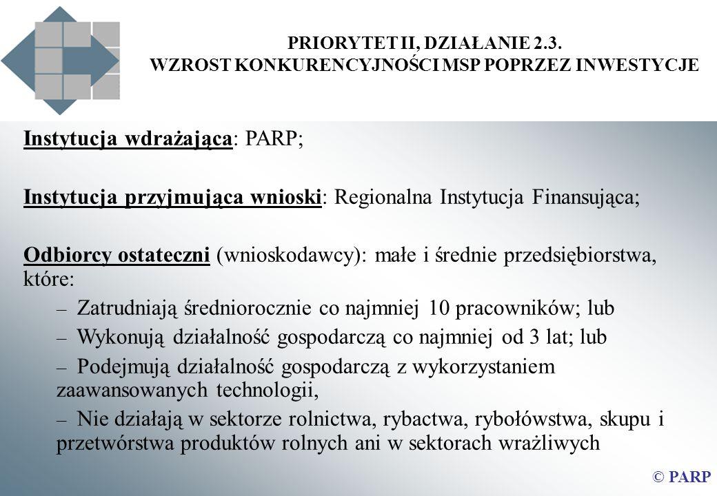 PRIORYTET II, DZIAŁANIE 2.3. WZROST KONKURENCYJNOŚCI MSP POPRZEZ INWESTYCJE Instytucja wdrażająca: PARP; Instytucja przyjmująca wnioski: Regionalna In
