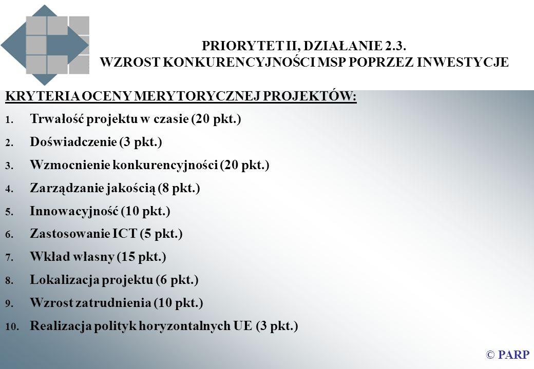 PRIORYTET II, DZIAŁANIE 2.3. WZROST KONKURENCYJNOŚCI MSP POPRZEZ INWESTYCJE © PARP KRYTERIA OCENY MERYTORYCZNEJ PROJEKTÓW: 1. Trwałość projektu w czas
