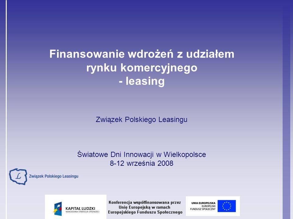 Agenda prezentacji Bariery wdrażania innowacji Co może być przedmiotem leasingu Kto może korzystać z leasingu Dlaczego leasing Leasing jako źródło komercjalizacji wdrożeń Znaczenie leasingu w polskiej gospodarce Popularność leasingu wśród przedsiębiorców