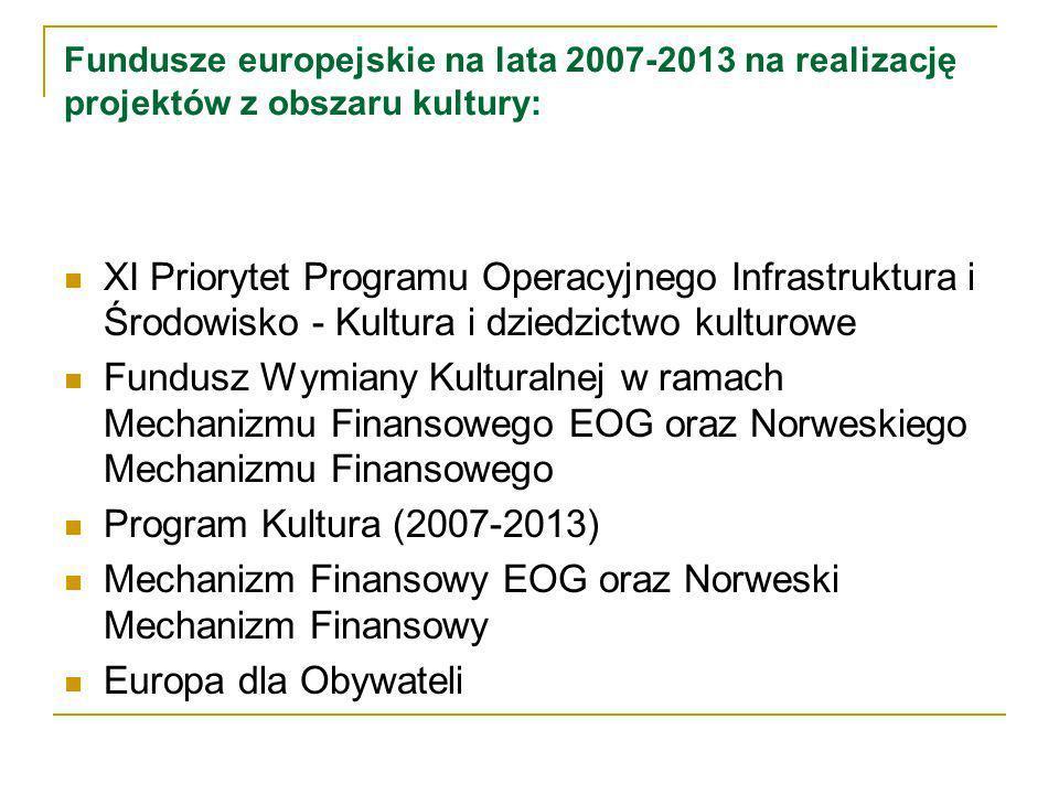 Fundusze europejskie na lata 2007-2013 na realizację projektów z obszaru kultury: XI Priorytet Programu Operacyjnego Infrastruktura i Środowisko - Kultura i dziedzictwo kulturowe Fundusz Wymiany Kulturalnej w ramach Mechanizmu Finansowego EOG oraz Norweskiego Mechanizmu Finansowego Program Kultura (2007-2013) Mechanizm Finansowy EOG oraz Norweski Mechanizm Finansowy Europa dla Obywateli
