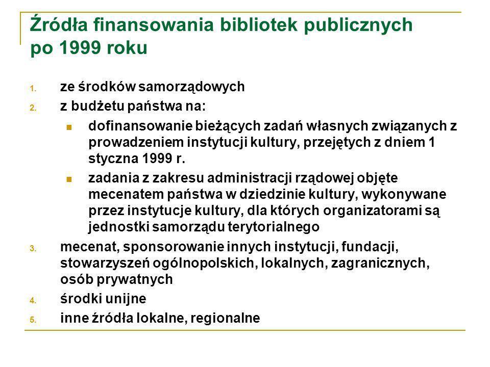 Źródła finansowania bibliotek publicznych po 1999 roku 1.