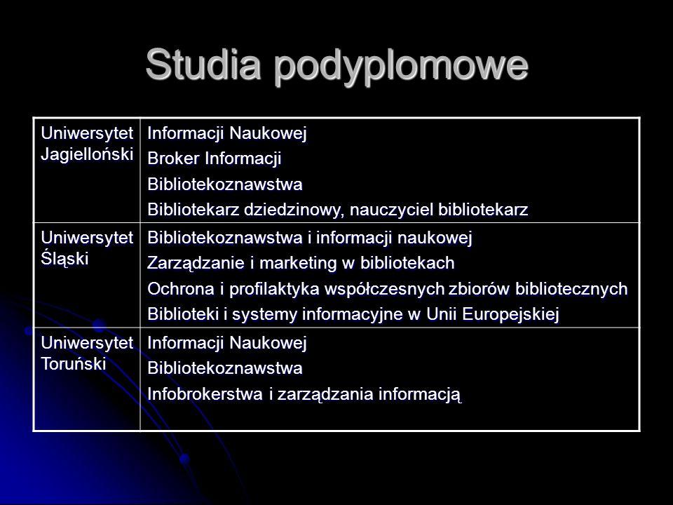 Studia podyplomowe Uniwersytet Jagielloński Informacji Naukowej Broker Informacji Bibliotekoznawstwa Bibliotekarz dziedzinowy, nauczyciel bibliotekarz
