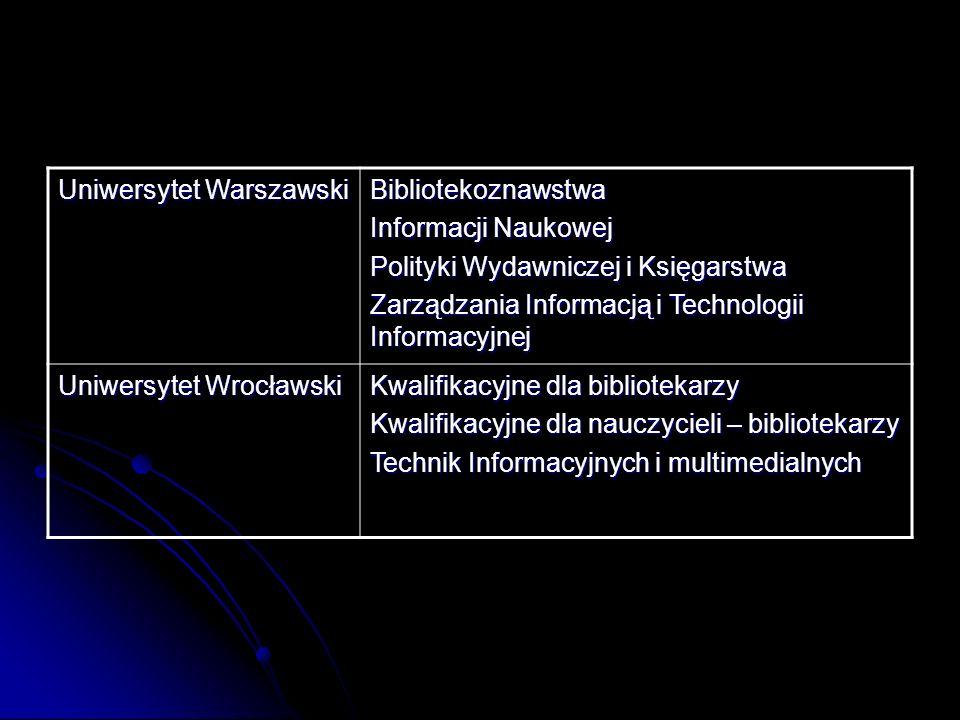 Uniwersytet Warszawski Bibliotekoznawstwa Informacji Naukowej Polityki Wydawniczej i Księgarstwa Zarządzania Informacją i Technologii Informacyjnej Un