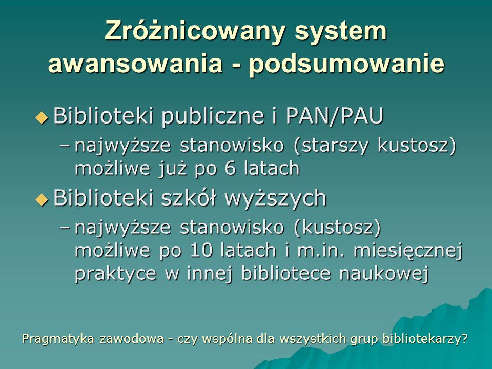 Zróżnicowany system awansowania - podsumowanie Biblioteki publiczne i PAN/PAU Biblioteki publiczne i PAN/PAU –najwyższe stanowisko (starszy kustosz) m