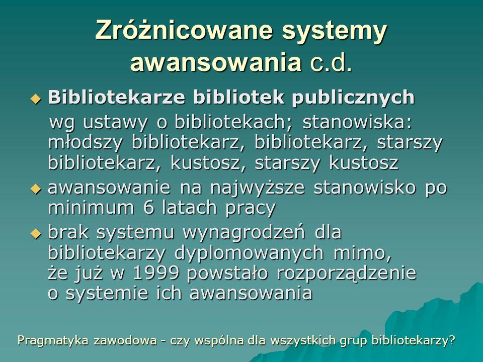 Zróżnicowane systemy awansowania c.d. Bibliotekarze bibliotek publicznych Bibliotekarze bibliotek publicznych wg ustawy o bibliotekach; stanowiska: mł