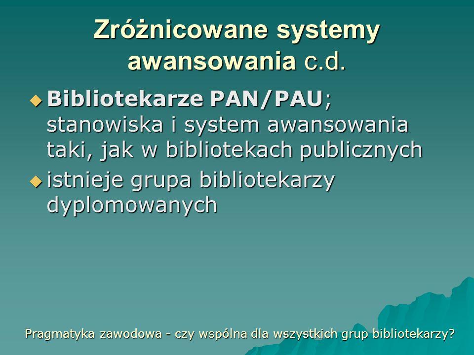 Zróżnicowane systemy awansowania c.d. Bibliotekarze PAN/PAU; stanowiska i system awansowania taki, jak w bibliotekach publicznych Bibliotekarze PAN/PA