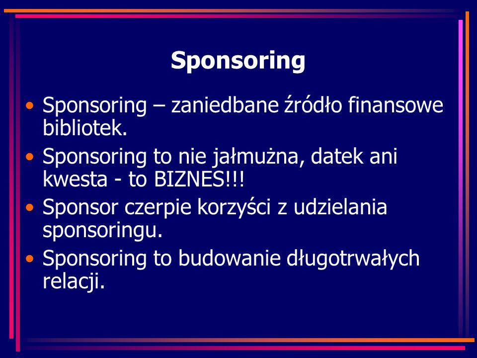 Sponsoring Sponsoring – zaniedbane źródło finansowe bibliotek. Sponsoring to nie jałmużna, datek ani kwesta - to BIZNES!!! Sponsor czerpie korzyści z