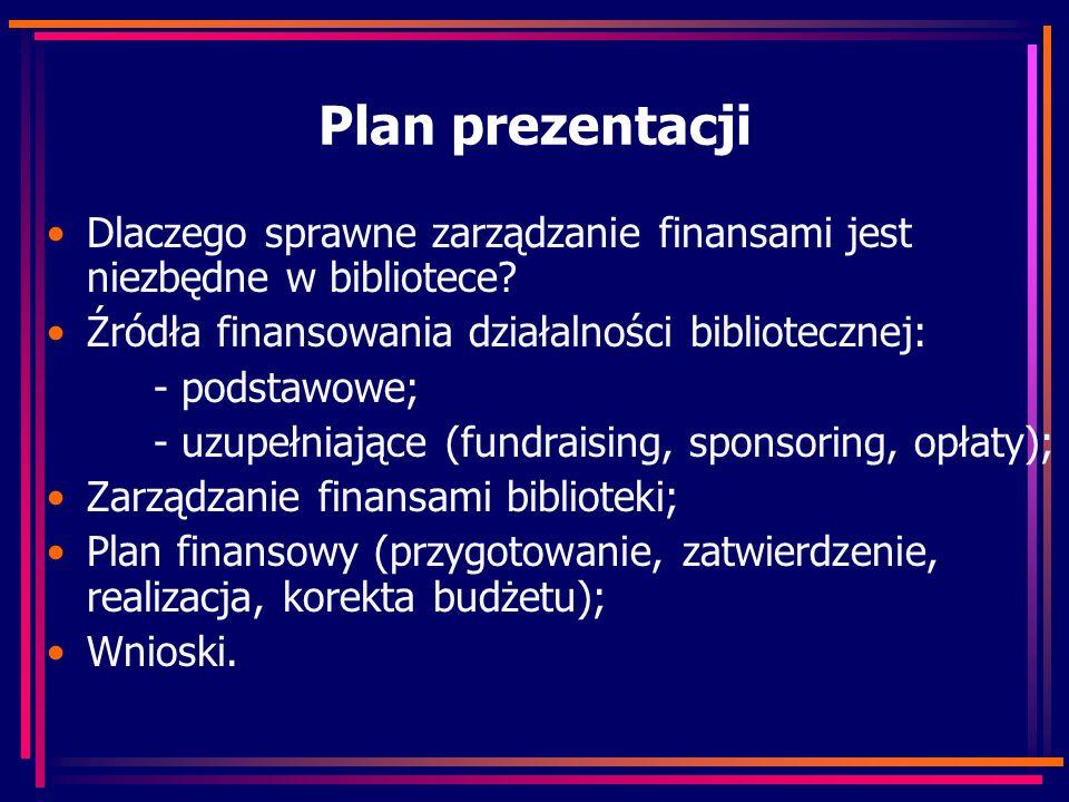 Plan prezentacji Dlaczego sprawne zarządzanie finansami jest niezbędne w bibliotece? Źródła finansowania działalności bibliotecznej: - podstawowe; - u