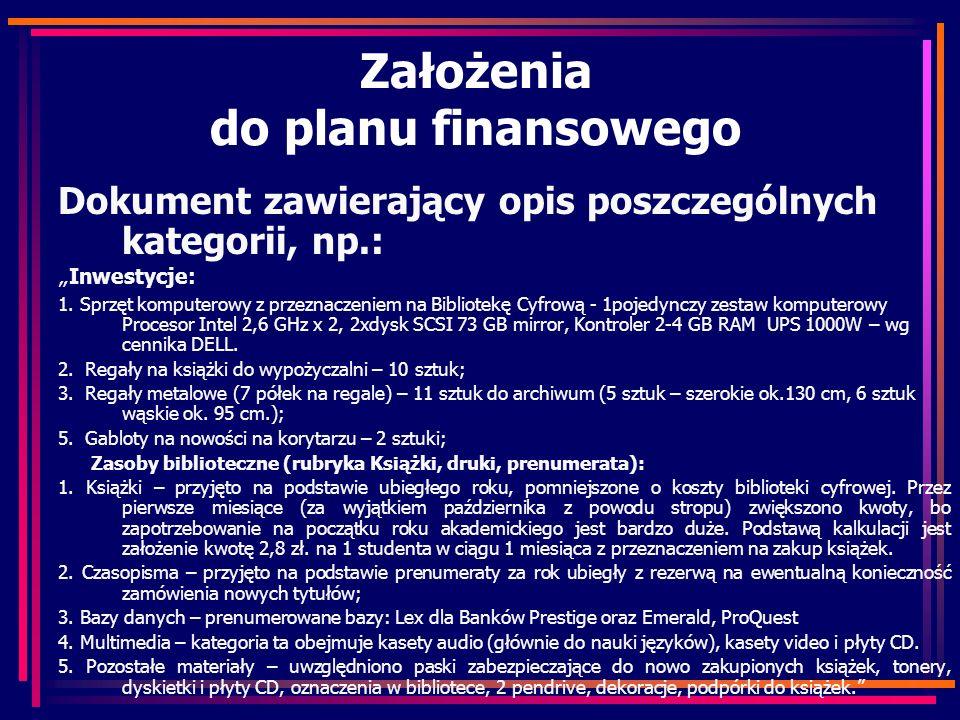 Założenia do planu finansowego Dokument zawierający opis poszczególnych kategorii, np.: Inwestycje: 1. Sprzęt komputerowy z przeznaczeniem na Bibliote