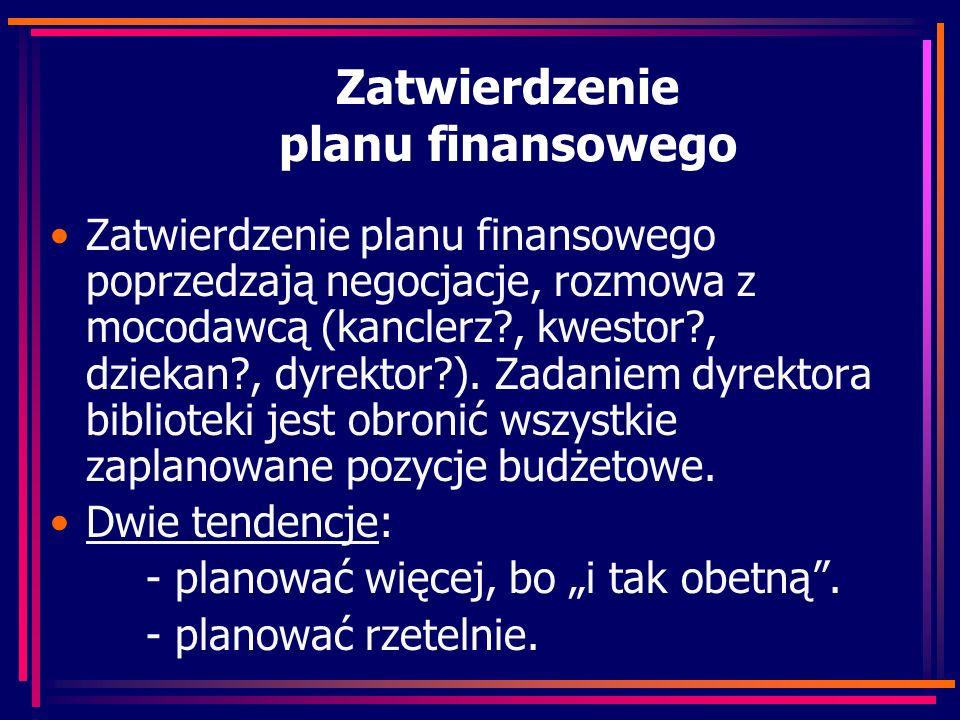 Zatwierdzenie planu finansowego Zatwierdzenie planu finansowego poprzedzają negocjacje, rozmowa z mocodawcą (kanclerz , kwestor , dziekan , dyrektor ).