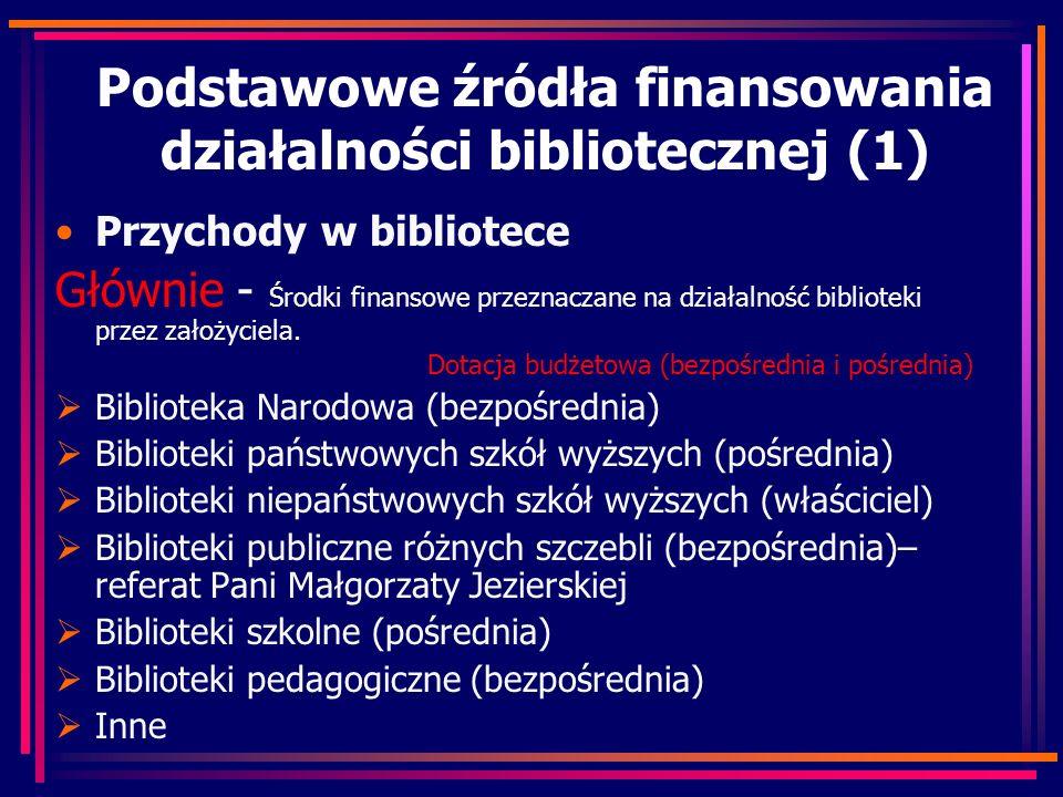 Podstawowe źródła finansowania działalności bibliotecznej (1) Przychody w bibliotece Głównie - Środki finansowe przeznaczane na działalność biblioteki