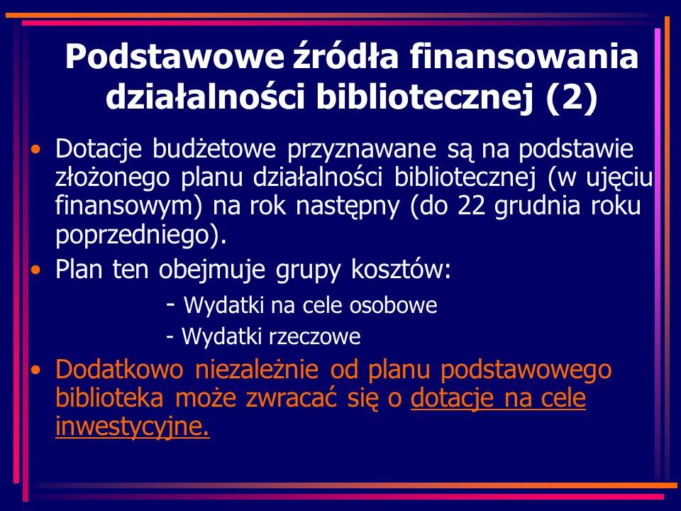 Podstawowe źródła finansowania działalności bibliotecznej (2) Dotacje budżetowe przyznawane są na podstawie złożonego planu działalności bibliotecznej (w ujęciu finansowym) na rok następny (do 22 grudnia roku poprzedniego).
