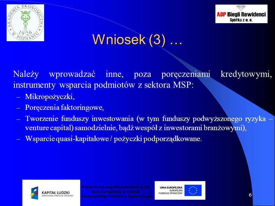 7 Wniosek (4) … Nie można poprzestać na raz przeprowadzonej analizie zapotrzebowania na wsparcie w zakresie finansowania!!.