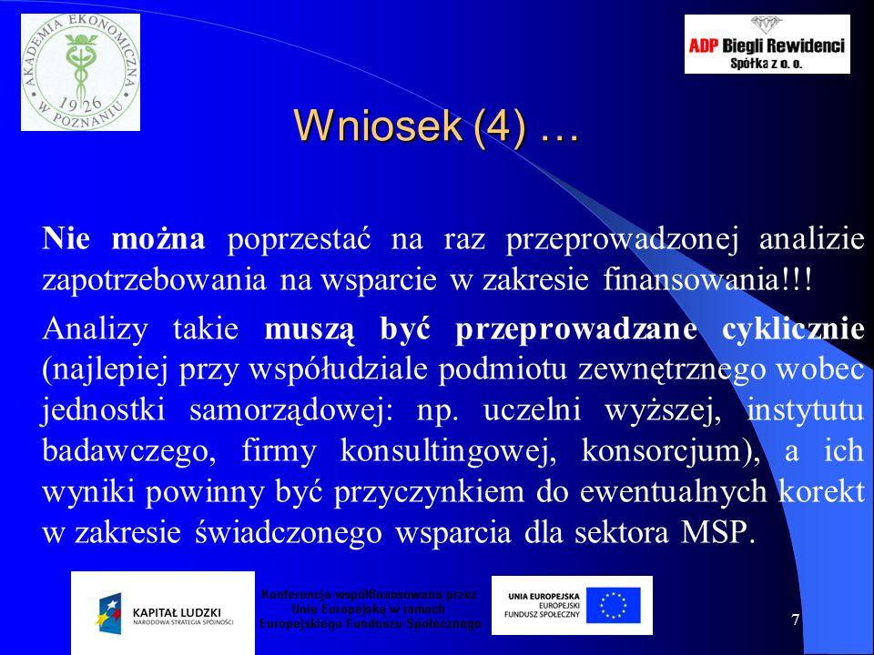 7 Wniosek (4) … Nie można poprzestać na raz przeprowadzonej analizie zapotrzebowania na wsparcie w zakresie finansowania!!! Analizy takie muszą być pr