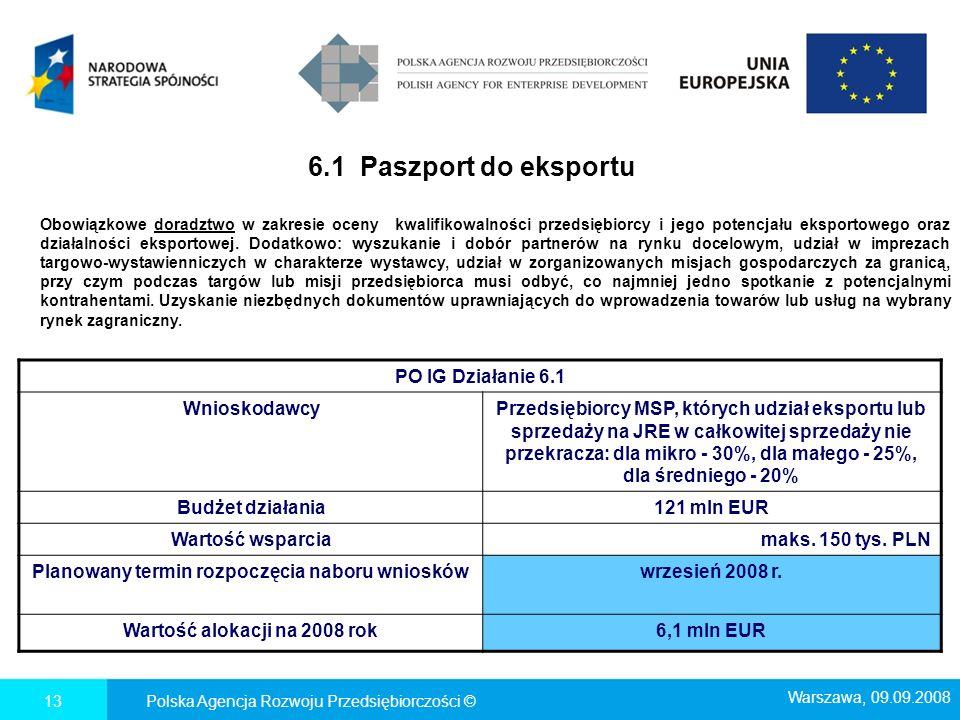 6.1 Paszport do eksportu Polska Agencja Rozwoju Przedsiębiorczości ©13 PO IG Działanie 6.1 WnioskodawcyPrzedsiębiorcy MSP, których udział eksportu lub