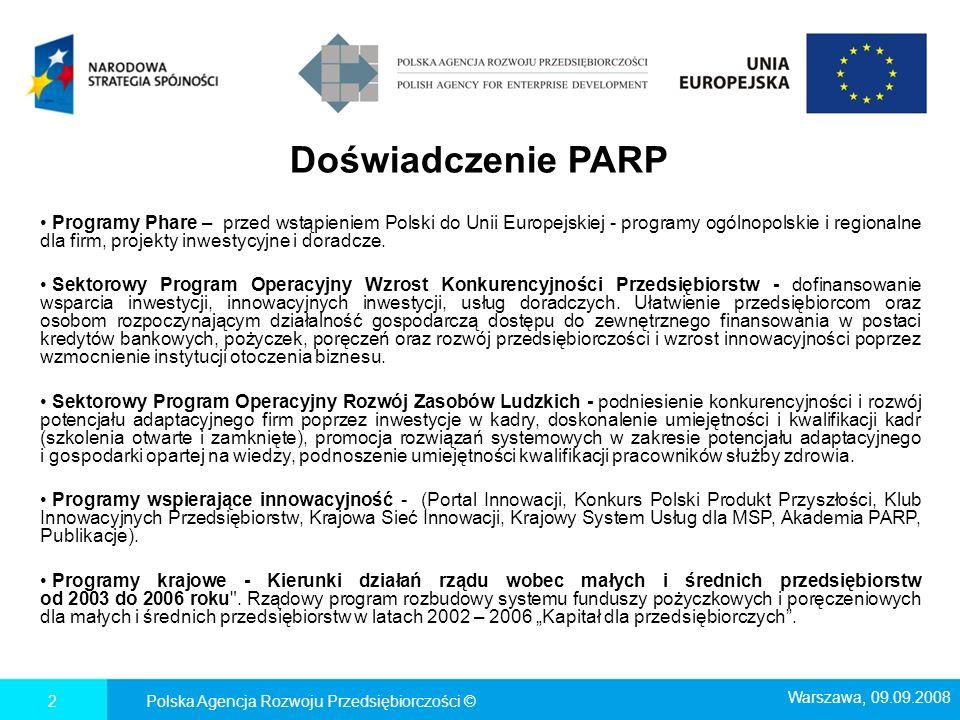 3 POLSKA AGENCJA ROZWOJU PRZEDSIĘBIORCZOŚCI w latach 2007 -2013 PARP w perspektywie finansowej 2007-2013 jest zaangażowana we wdrażanie trzech programów operacyjnych, będących instrumentami realizacji Narodowej Strategii Spójności 2007-2013 : Programu Operacyjnego Innowacyjna Gospodarka (PO IG) - budżet 3,9 mld EUR Programu Operacyjnego Kapitał Ludzki (PO KL) - budżet 672 mln EUR Programu Operacyjnego Rozwój Polski Wschodniej (PO RPW) - budżet 2,6 mld EUR Polska Agencja Rozwoju Przedsiębiorczości © Warszawa, 09.09.2008