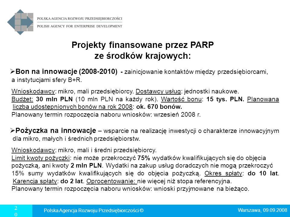 20 Projekty finansowane przez PARP ze środków krajowych: Bon na innowacje (2008-2010) - zainicjowanie kontaktów między przedsiębiorcami, a instytucjam