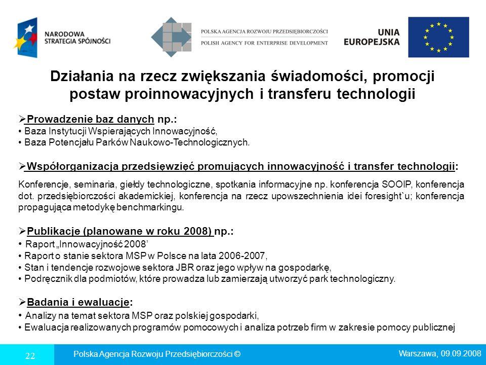 22 Polska Agencja Rozwoju Przedsiębiorczości © Działania na rzecz zwiększania świadomości, promocji postaw proinnowacyjnych i transferu technologii Pr