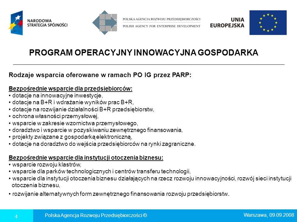 4 PROGRAM OPERACYJNY INNOWACYJNA GOSPODARKA Rodzaje wsparcia oferowane w ramach PO IG przez PARP: Bezpośrednie wsparcie dla przedsiębiorców: dotacje n