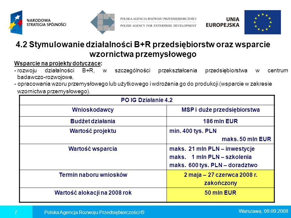4.4 Nowe inwestycje o wysokim potencjale innowacyjnym Polska Agencja Rozwoju Przedsiębiorczości ©8 PO IG Działanie 4.4 WnioskodawcyMSP i duże przedsiębiorstwa Budżet działania1 420 mln EUR Wartość projektumin.