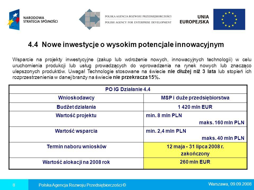 4.4 Nowe inwestycje o wysokim potencjale innowacyjnym Polska Agencja Rozwoju Przedsiębiorczości ©8 PO IG Działanie 4.4 WnioskodawcyMSP i duże przedsię