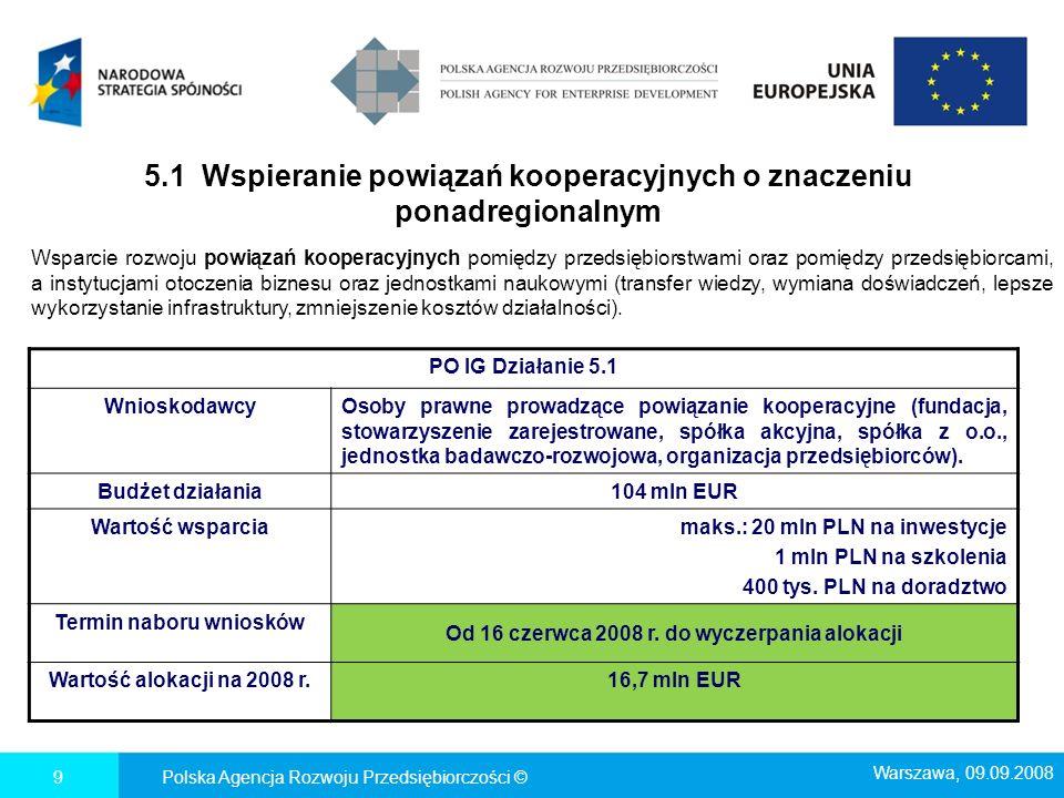 Polska Agencja Rozwoju Przedsiębiorczości ©10 PO IG Działanie 5.2 WnioskodawcyInstytucje otoczenia biznesu działające w sieciach oraz sieci IOB (tryb konkursowy) Budżet działania65 mln EUR Wartość projektu- Termin naboru wniosków Od 16 czerwca 2008 r.