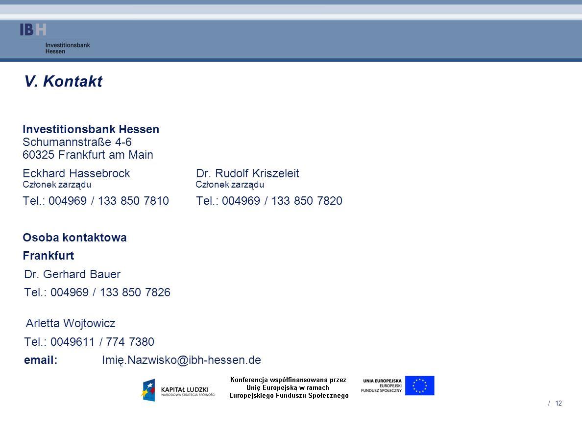 / 12 V. Kontakt Investitionsbank Hessen Schumannstraße 4-6 60325 Frankfurt am Main Eckhard HassebrockDr. Rudolf Kriszeleit Członek zarządu Członek zar
