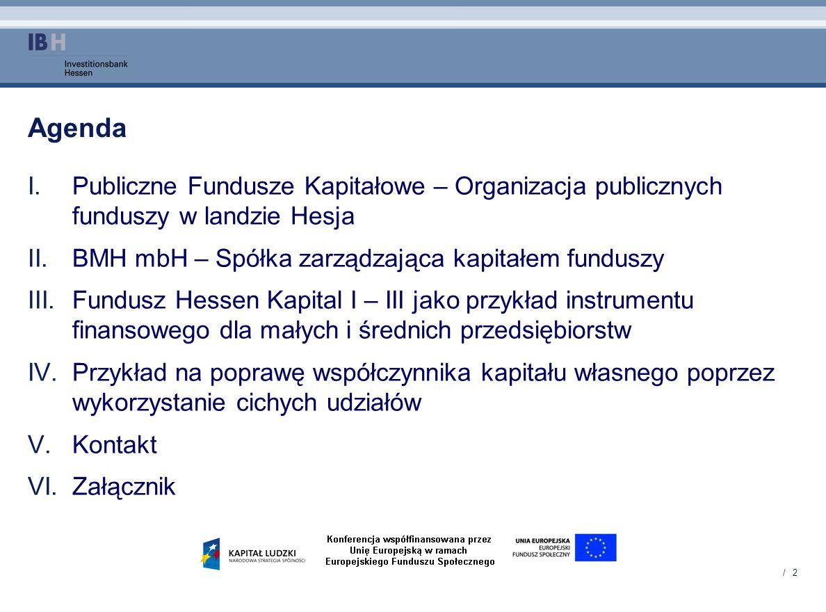 / 2 Agenda I.Publiczne Fundusze Kapitałowe – Organizacja publicznych funduszy w landzie Hesja II.BMH mbH – Spółka zarządzająca kapitałem funduszy III.
